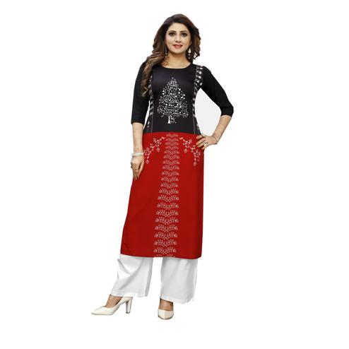 Glowing Maroon Colored Casual Wear Digital Printed Calf-Length Straight Crepe Kurti