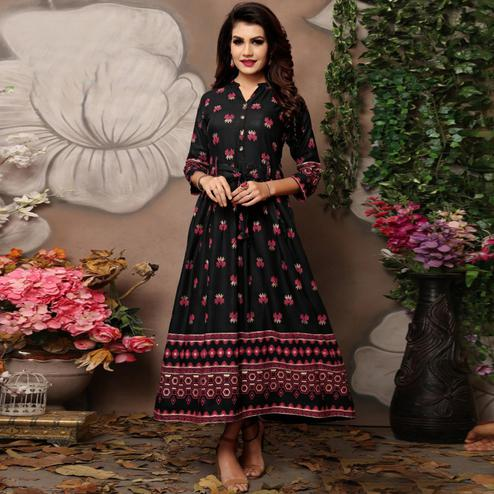 Pleasant Black Colored Party Wear Foil Block Printed Rayon Kurti
