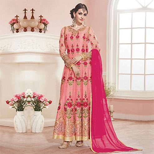 Light Pink Pure Silk Anarkali Suit