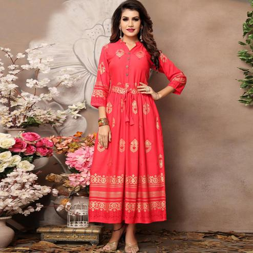 Energetic Light Red Colored Party Wear Foil Block Printed Rayon Kurti