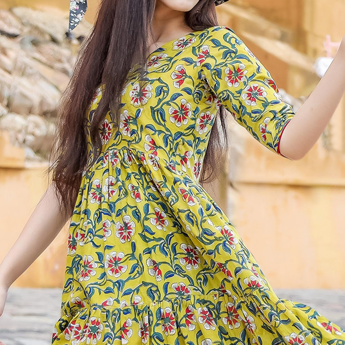 Graceful Green Colored Casual Wear Digital Floral Printed Cotton Gown With Matching Mask