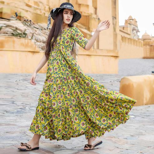 Graceful Green Colored Party Wear Digital Floral Printed Cotton Gown With Matching Mask