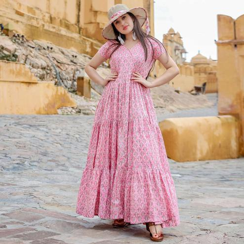 Charming Pink Colored Party Wear Digital Floral Printed Cotton Gown With Matching Mask