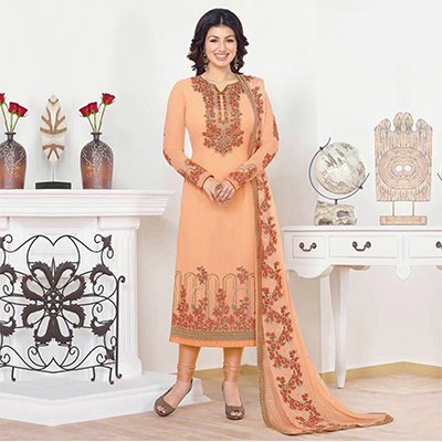 Peach Straight Cut Georgette Suit