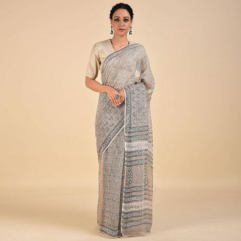 Blissful Beige Colored Casual Printed Kota Doria Saree