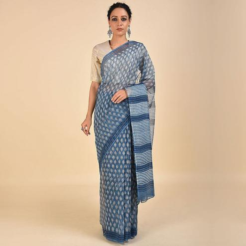 Ideal Blue Colored Casual Printed Kota Doria Saree