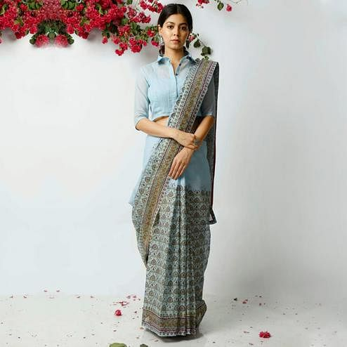 Glorious Blue Colored Casual Printed Kota Doria Saree