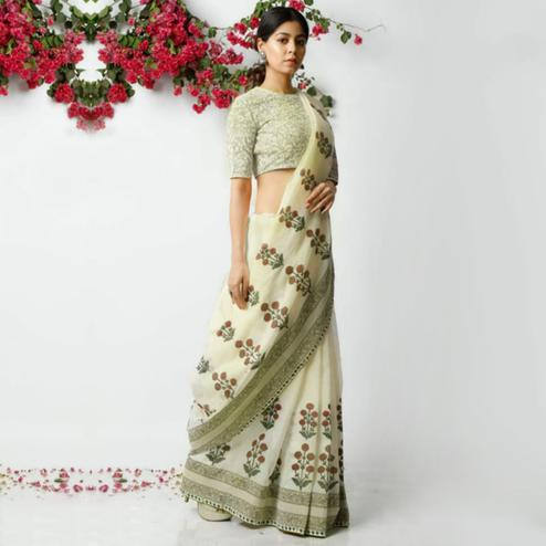 Beautiful Cream Colored Casual Printed Kota Doria Saree