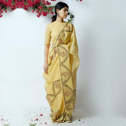 Graceful Yellow Colored Casual Printed Kota Doria Saree