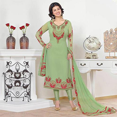 Green Festive Wear Straight Cut Churidar Suit