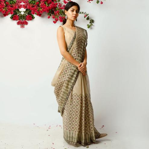 Blooming Beige Colored Casual Printed Kota Doria Saree