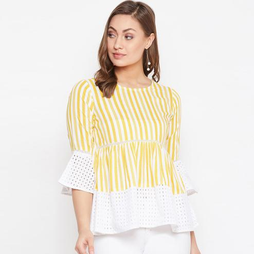 Winered Women Striped Casual and Office Wear Top