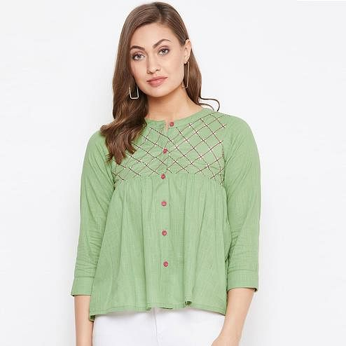 Winered Women Embroidered Green Cotton Casual and Office wear Top