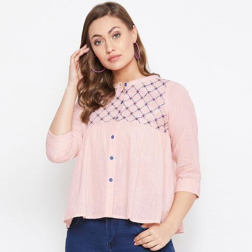 Winered Women Embroidered Pink Cotton Casual and Office wear Top