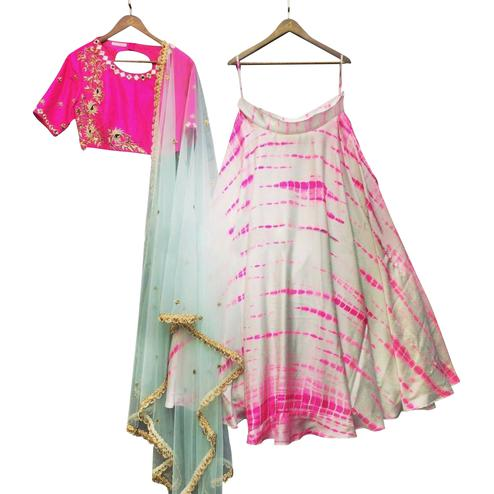 Capricious White-Pink Colored Party Wear Printed Satin Lehenga Choli