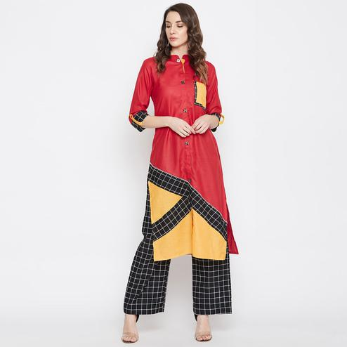 Women Maroon Colored Straight Cotton  Kurti with Palazzo