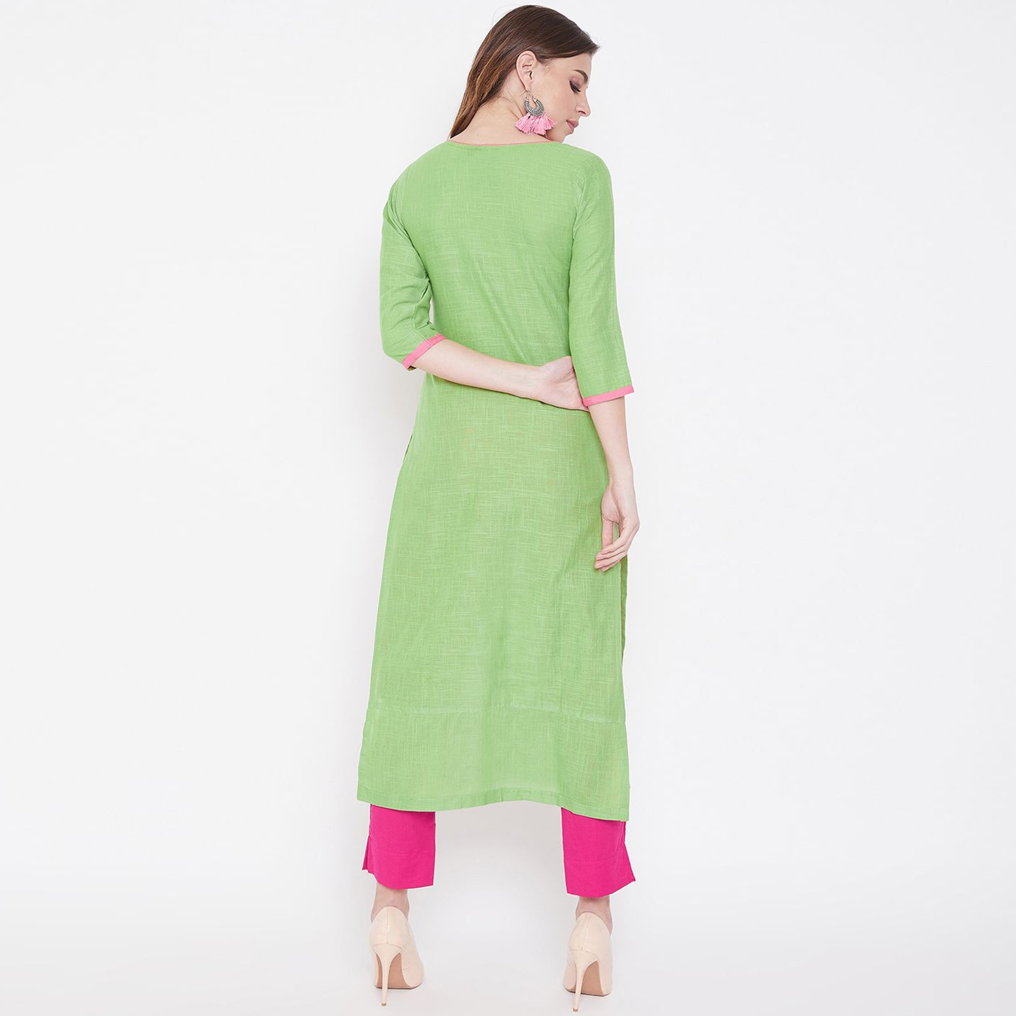 Women Green Colored Casual Embroidered Cotton Kurti