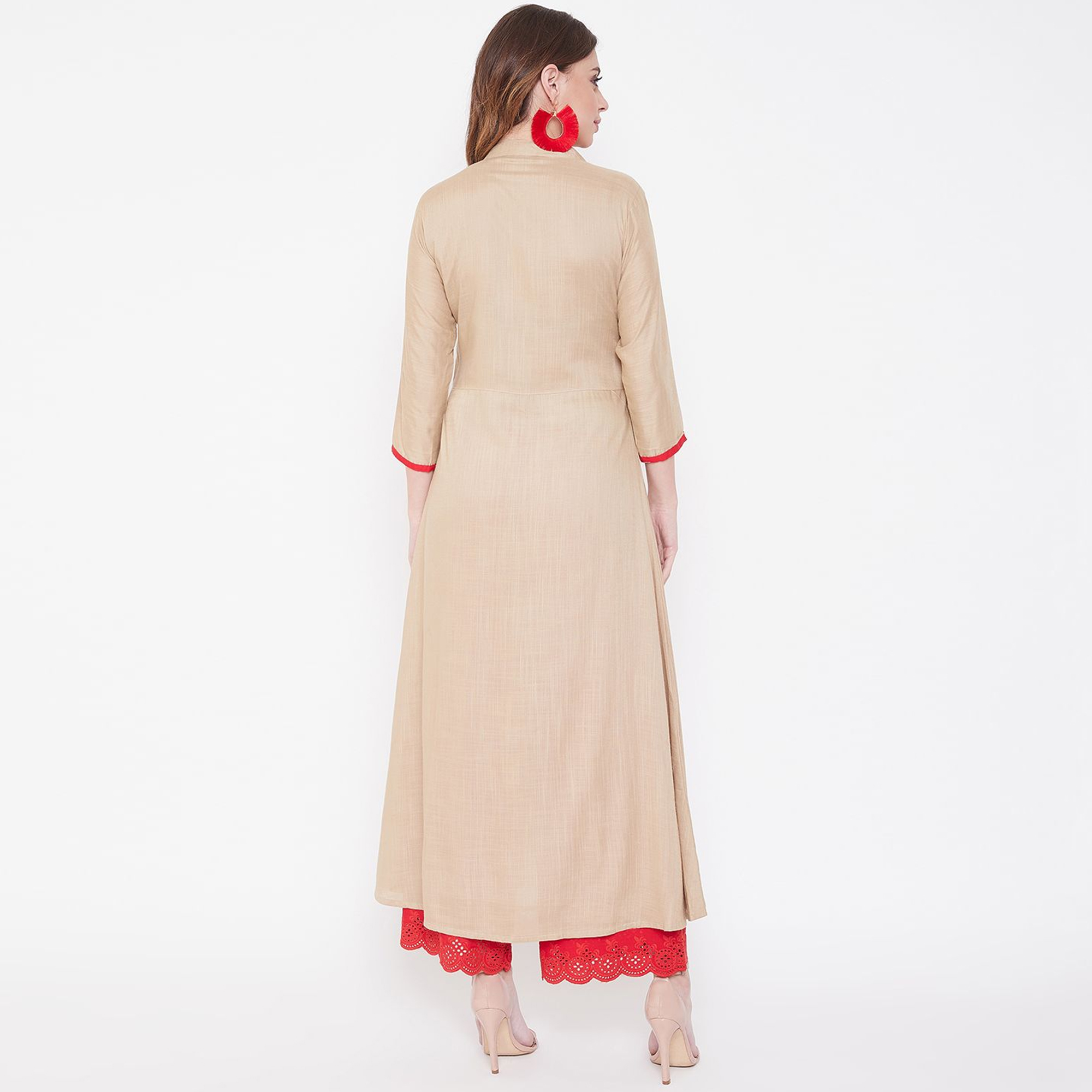 Women Beige Colored Embroidered Rayon Kurti with Front Slit