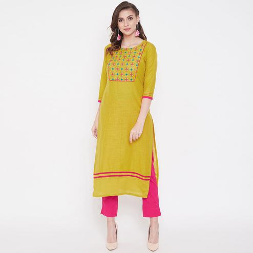 Women Mustard Yellow Colored Casual Embroidered Cotton Kurti