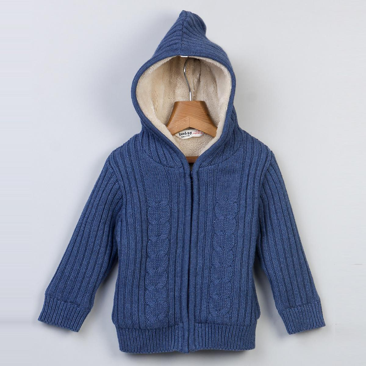 Beebay Fleece Lined Cable Sweater Hoodie For Kids