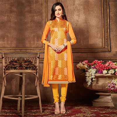 Orange Cotton Thread Embroidered Dress Material