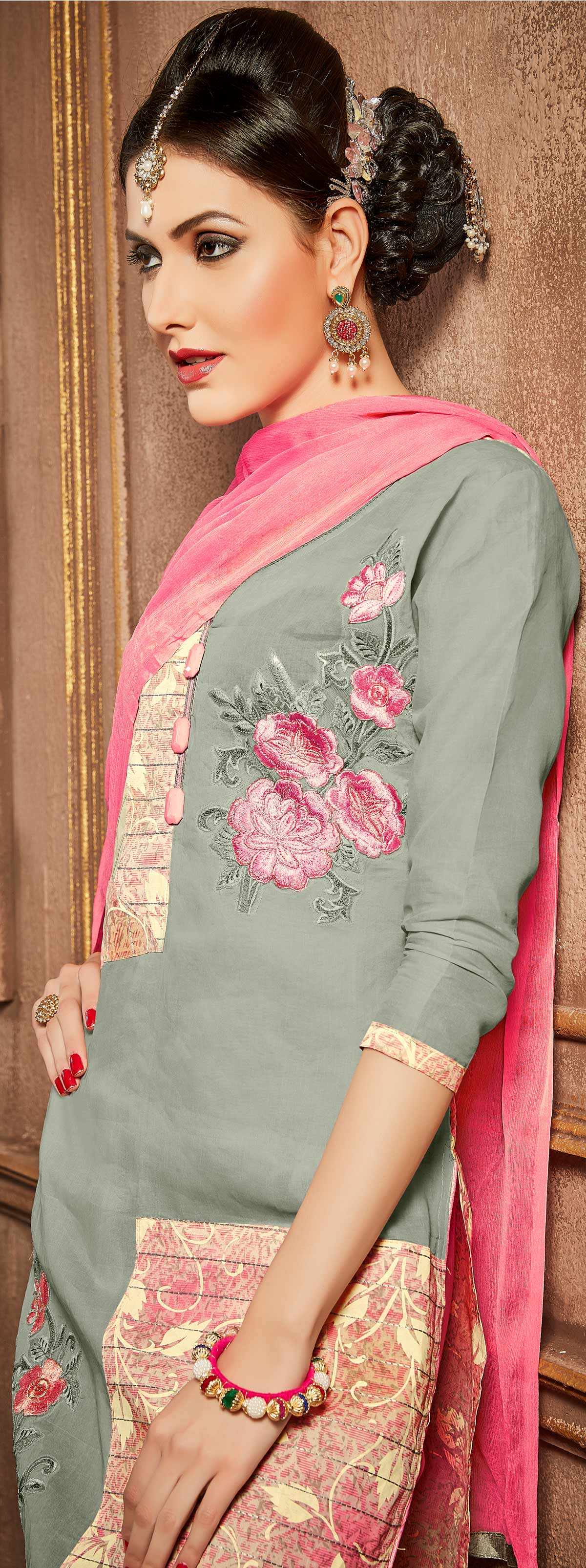 Grey - Pink Thread Embroidered Work Suit