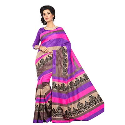 Purple - Gray Art Silk Saree