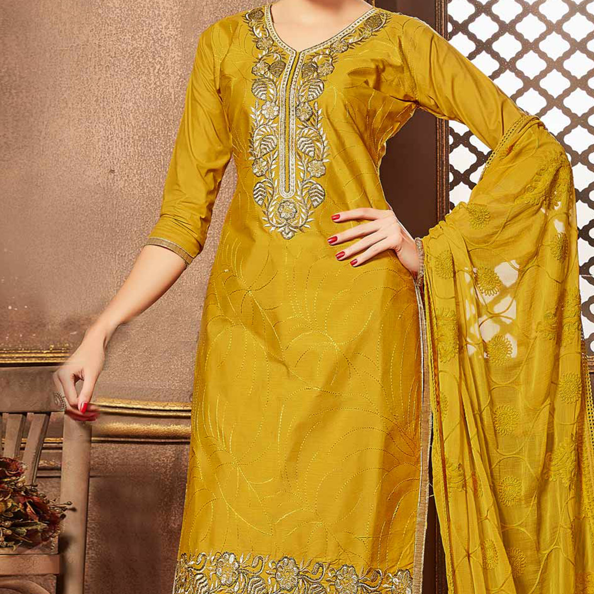 Mustard Cotton Dress Material With Thread Work