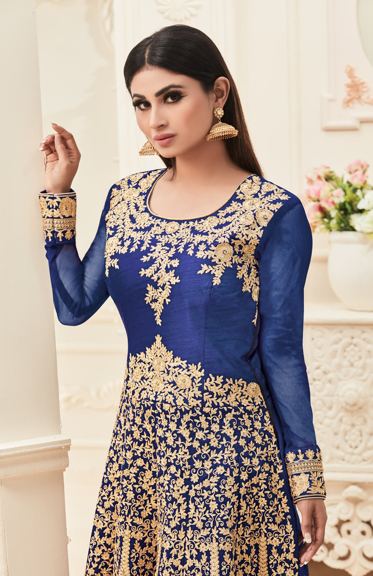 Navy Blue Embroidered & Stone Work Anarkali