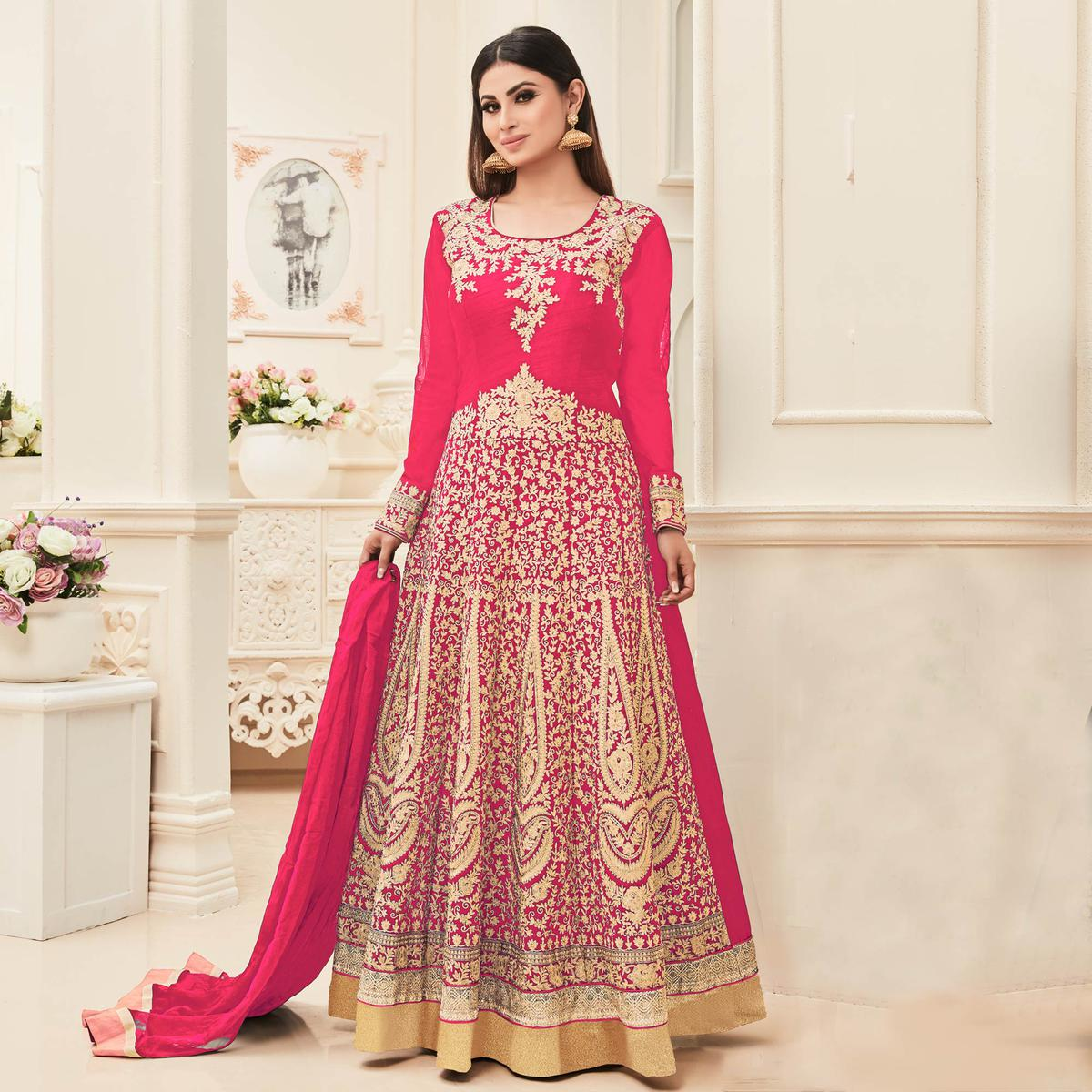 Pink Embroidered & Stone Work Anarkali