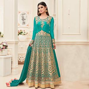 Green Embroidered & Stone Work Anarkali