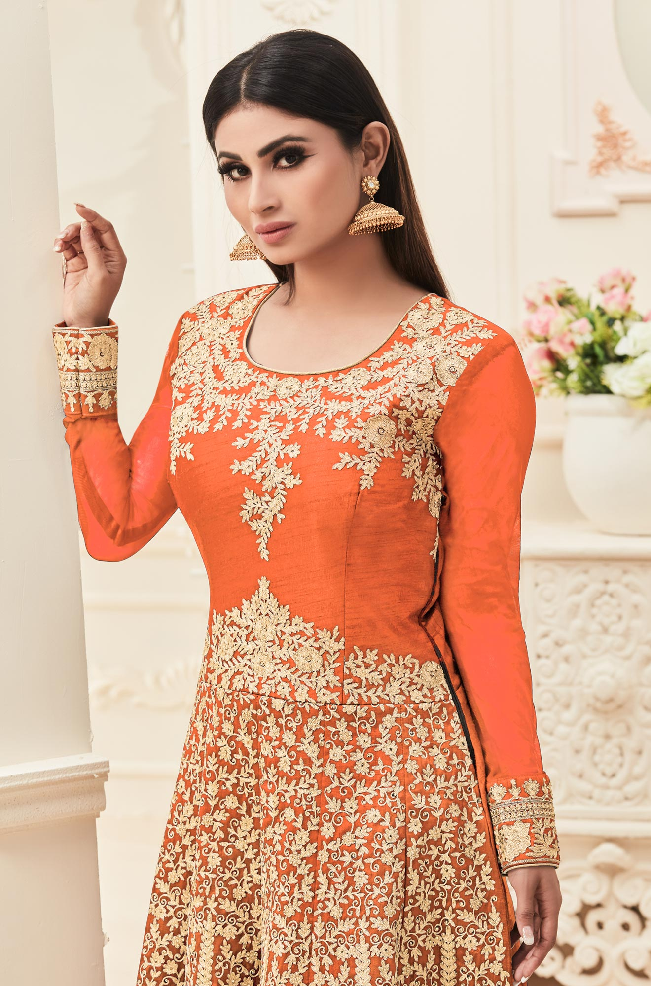 Orange Embroidered & Stone Work Anarkali