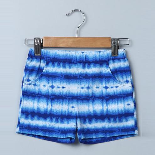 Beebay Blue Tie and Dye Jersey Shorts For Infants