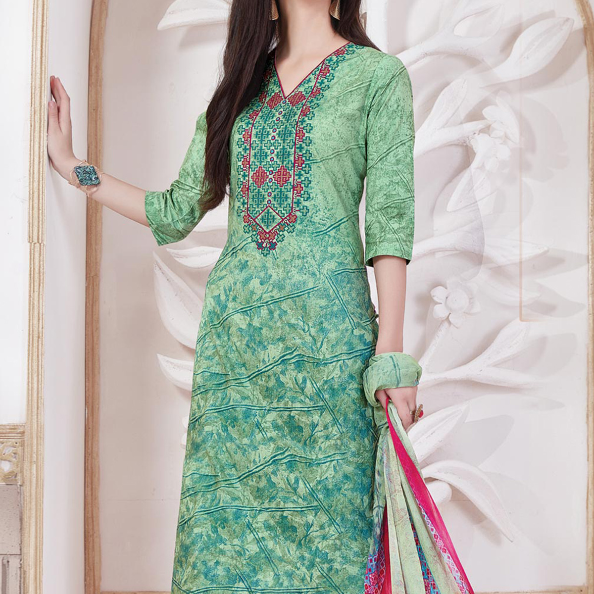 Sea Green Print & Thread Work Cotton Dress Material