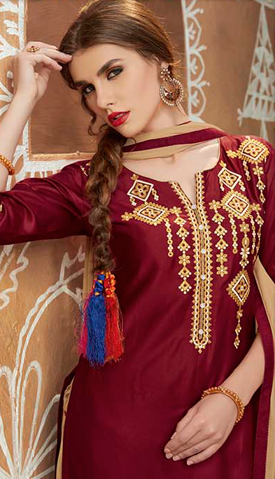 Maroon - Beige Embroidered Work Patiala Suit