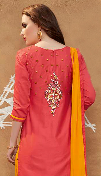 Red - Yellow Embroidered Work Patiala Suit