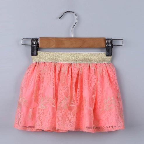 Beebay Peach Floral And Gold Lace Skirt For Infants