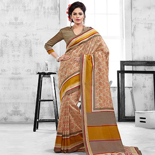 Beige Art Silk Printed Saree