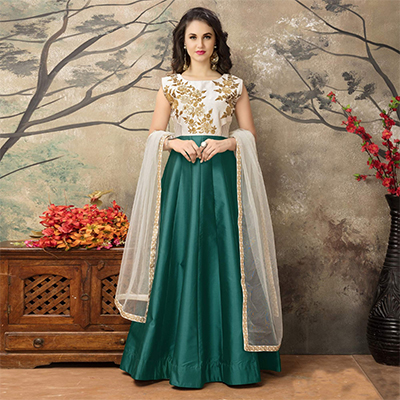 Off White - Bottle Green Party Wear Gown