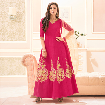 Pink Italian Silk Floor Length Anarkali Suit