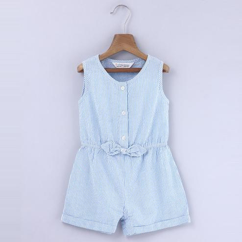 Beebay Blue And White Seersucker Jumpsuit For Kids