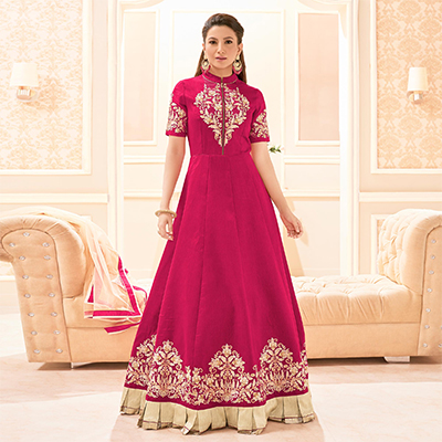 Pink Party Wear Floor Length Anarkali Suit
