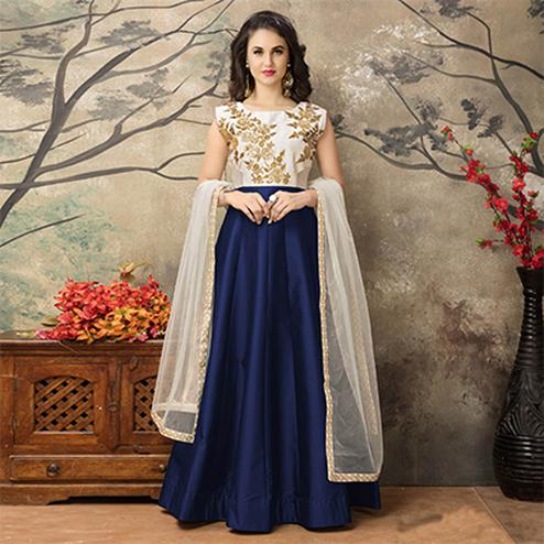 Off White - Navy Blue Party Wear Gown