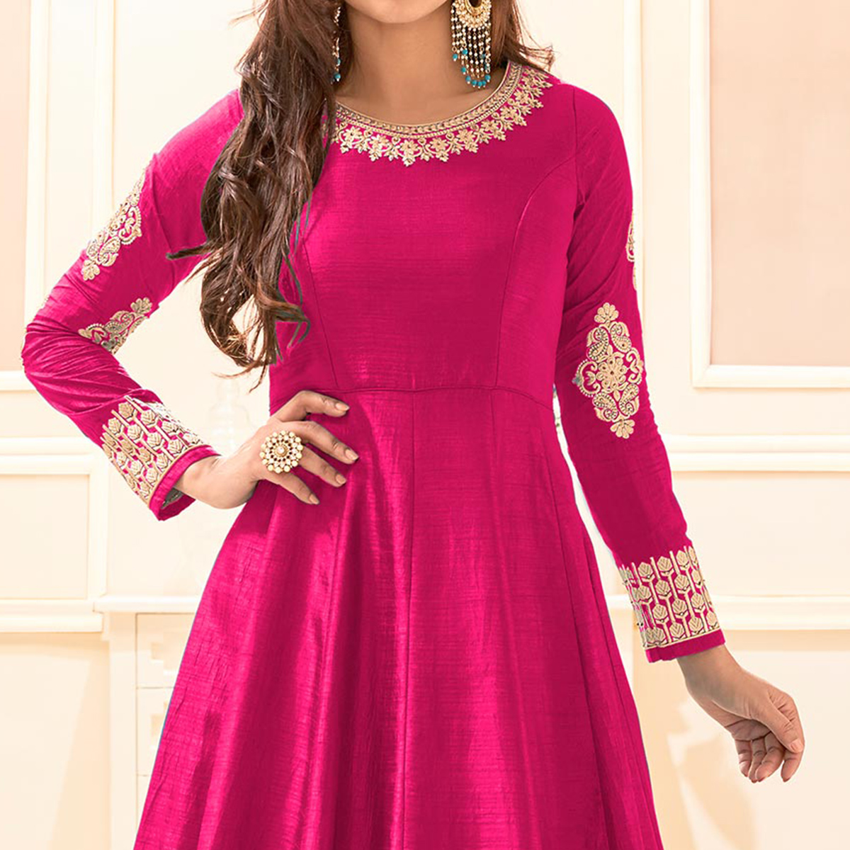 Pink Cotton & Banarasi Silk Anarkali Suit
