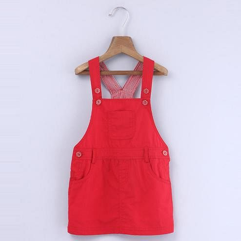 Beebay Red Dungaree Dress For Infants