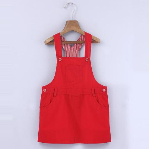 Beebay Red Dungaree Dress For Kids