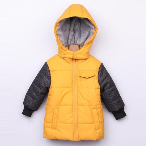 Beebay Yellow Elbow Patch Puffer Jacket For Infants