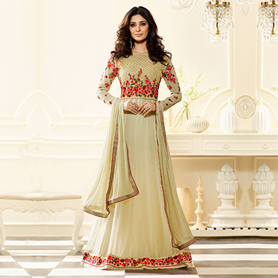 Cream Embroidered & Stone Work Anarkali Suit