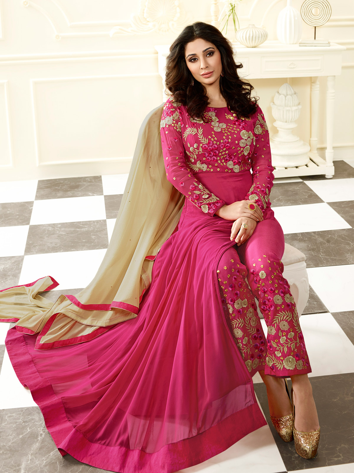 Pink Party Wear Georgette Suit with Front Slit