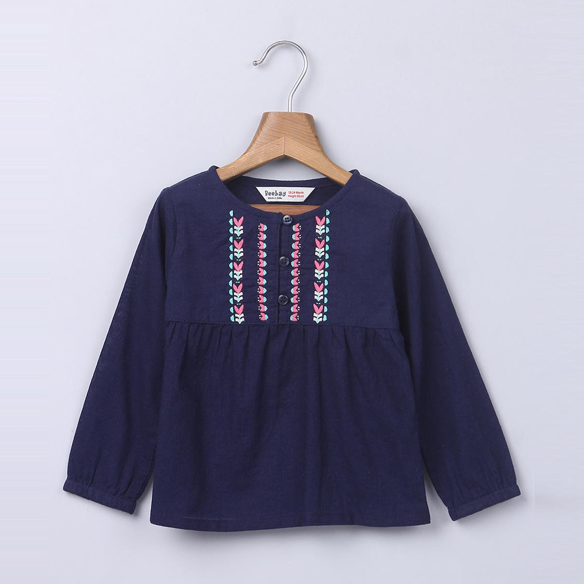 Beebay Navy Embroidered Blouse For Infants